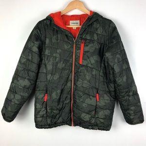 LANDS END jacket Large 14-16 green camo hood o109